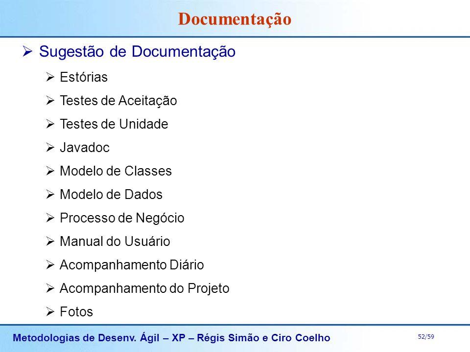 Metodologias de Desenv. Ágil – XP – Régis Simão e Ciro Coelho 52/59 Documentação Sugestão de Documentação Estórias Testes de Aceitação Testes de Unida
