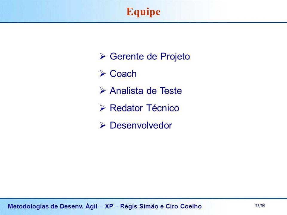 Metodologias de Desenv. Ágil – XP – Régis Simão e Ciro Coelho 53/59 Gerente de Projeto Coach Analista de Teste Redator Técnico Desenvolvedor Equipe