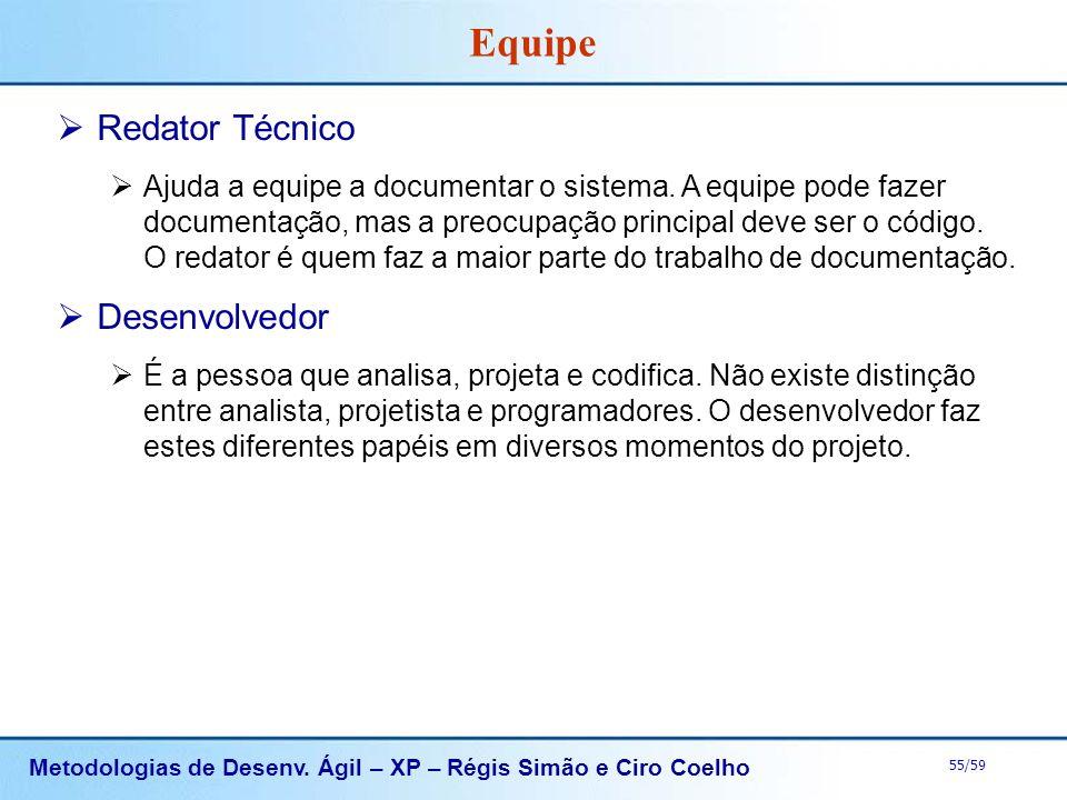 Metodologias de Desenv. Ágil – XP – Régis Simão e Ciro Coelho 55/59 Equipe Redator Técnico Ajuda a equipe a documentar o sistema. A equipe pode fazer