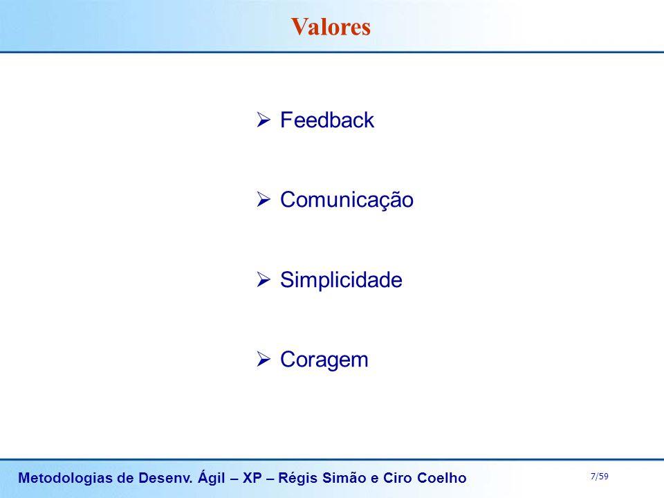 Metodologias de Desenv. Ágil – XP – Régis Simão e Ciro Coelho 7/59 Feedback Comunicação Simplicidade Coragem Valores