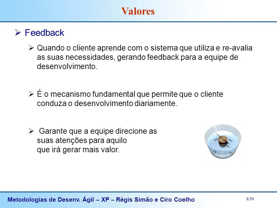 Metodologias de Desenv. Ágil – XP – Régis Simão e Ciro Coelho 8/59 Feedback Quando o cliente aprende com o sistema que utiliza e re-avalia as suas nec