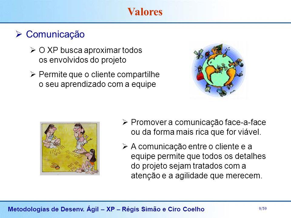 Metodologias de Desenv. Ágil – XP – Régis Simão e Ciro Coelho 9/59 Comunicação O XP busca aproximar todos os envolvidos do projeto Permite que o clien