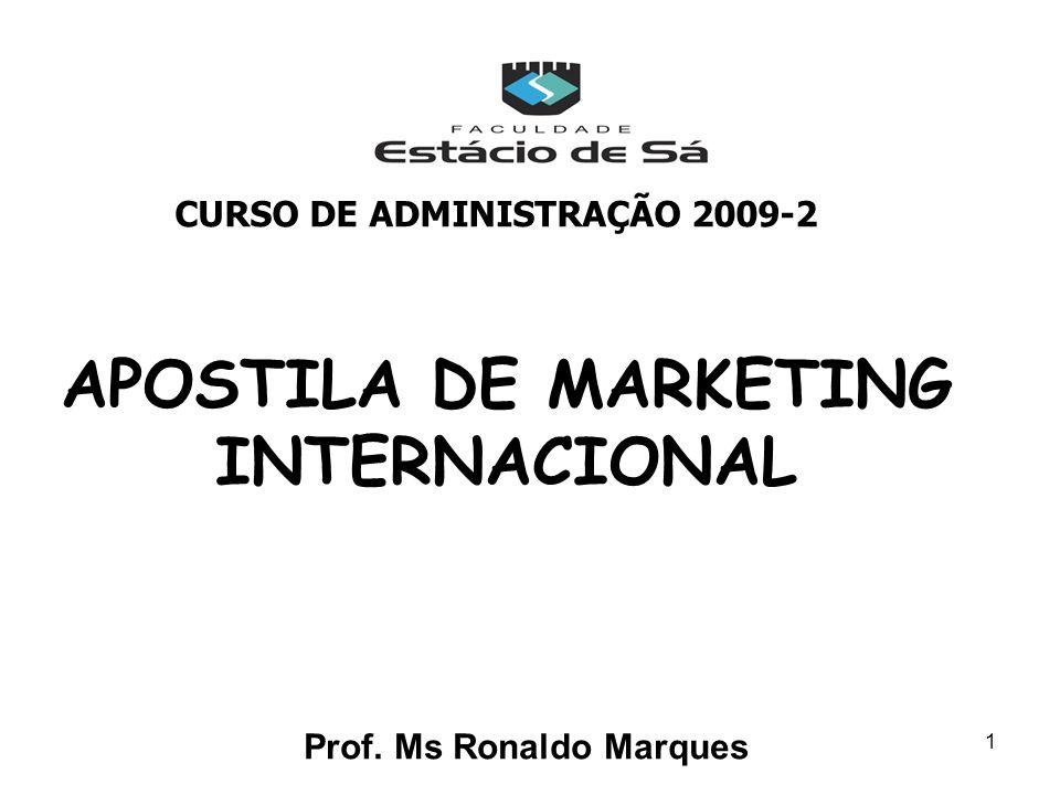 1 APOSTILA DE MARKETING INTERNACIONAL Prof. Ms Ronaldo Marques CURSO DE ADMINISTRAÇÃO 2009-2
