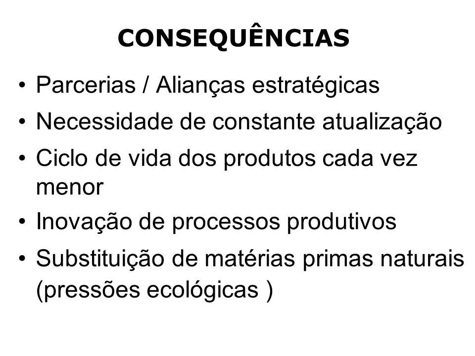 CONSEQUÊNCIAS Parcerias / Alianças estratégicas Necessidade de constante atualização Ciclo de vida dos produtos cada vez menor Inovação de processos p