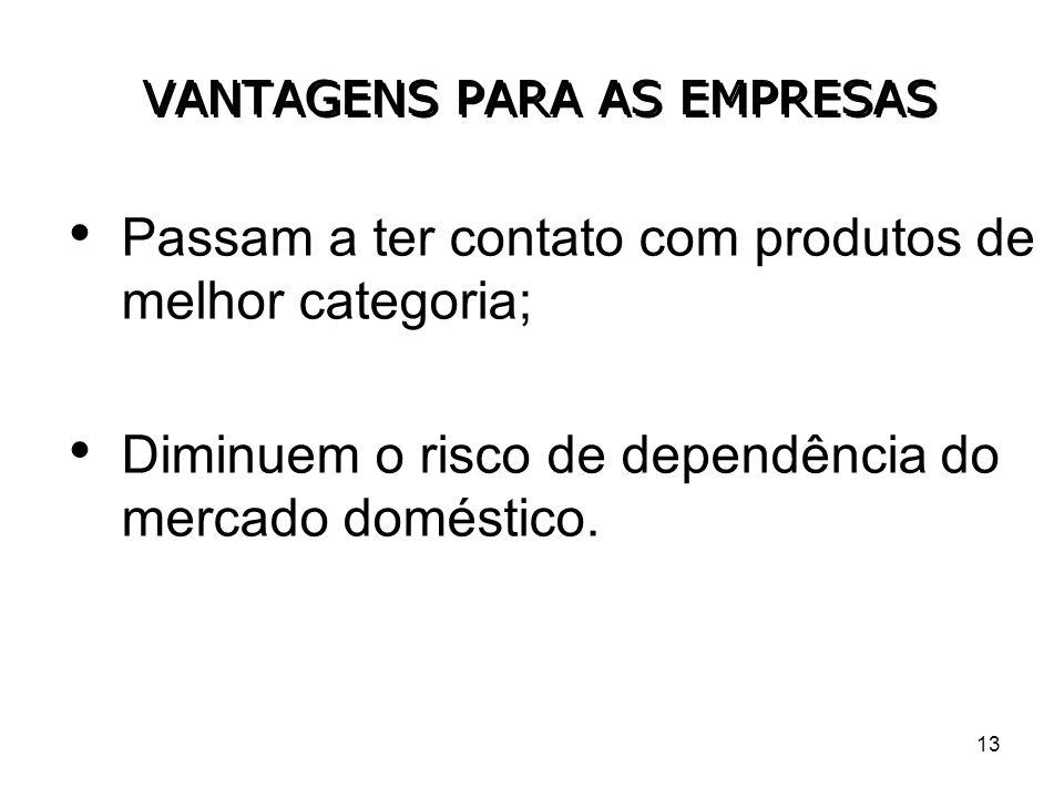 13 VANTAGENS PARA AS EMPRESAS Passam a ter contato com produtos de melhor categoria; Diminuem o risco de dependência do mercado doméstico.