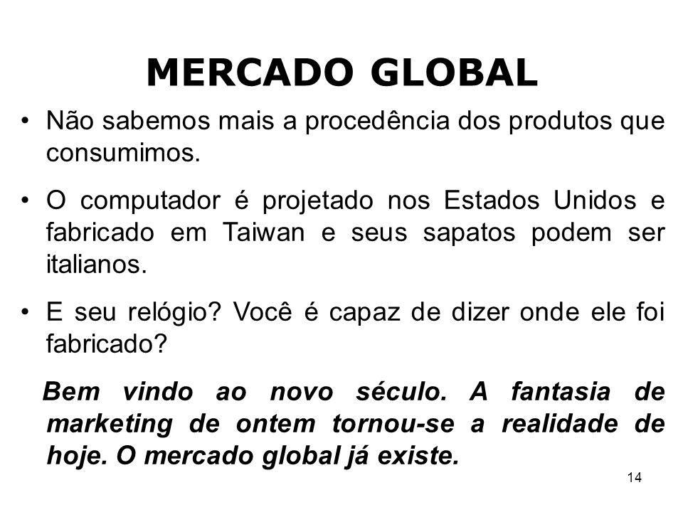 14 MERCADO GLOBAL Não sabemos mais a procedência dos produtos que consumimos. O computador é projetado nos Estados Unidos e fabricado em Taiwan e seus