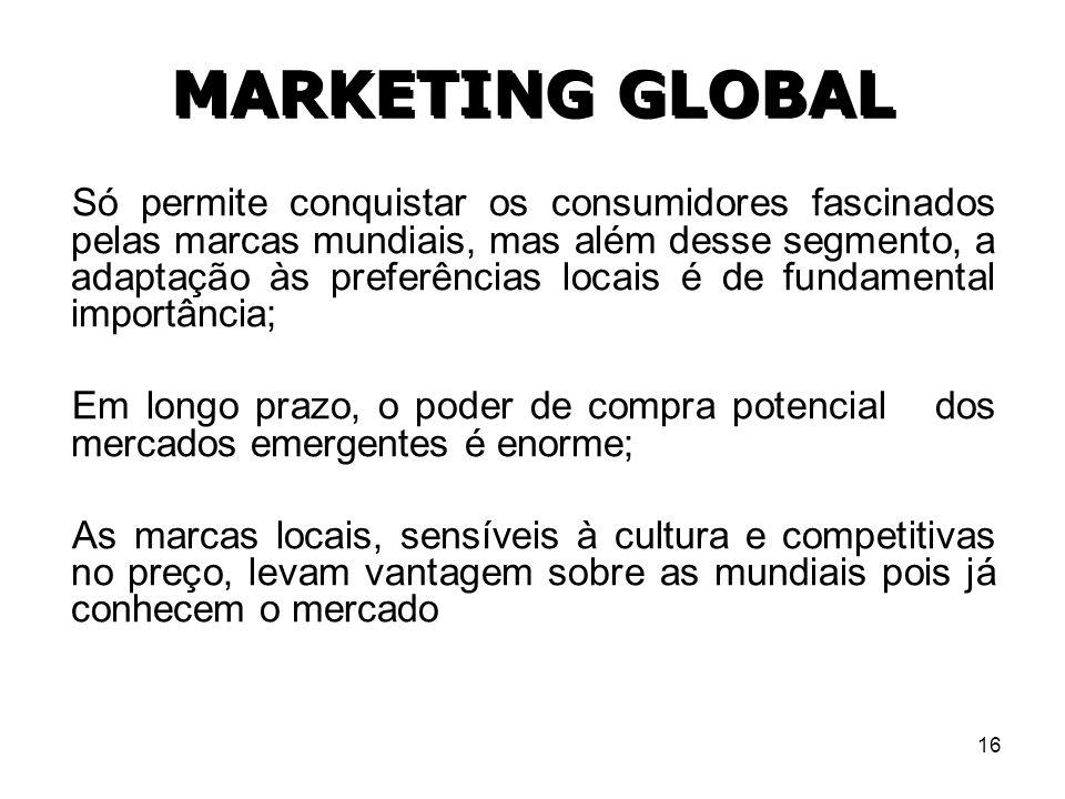 16 MARKETING GLOBAL Só permite conquistar os consumidores fascinados pelas marcas mundiais, mas além desse segmento, a adaptação às preferências locai