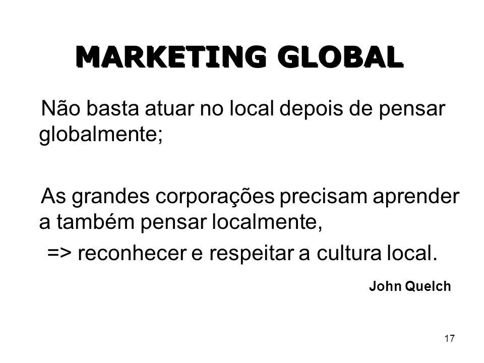 17 MARKETING GLOBAL Não basta atuar no local depois de pensar globalmente; As grandes corporações precisam aprender a também pensar localmente, => rec