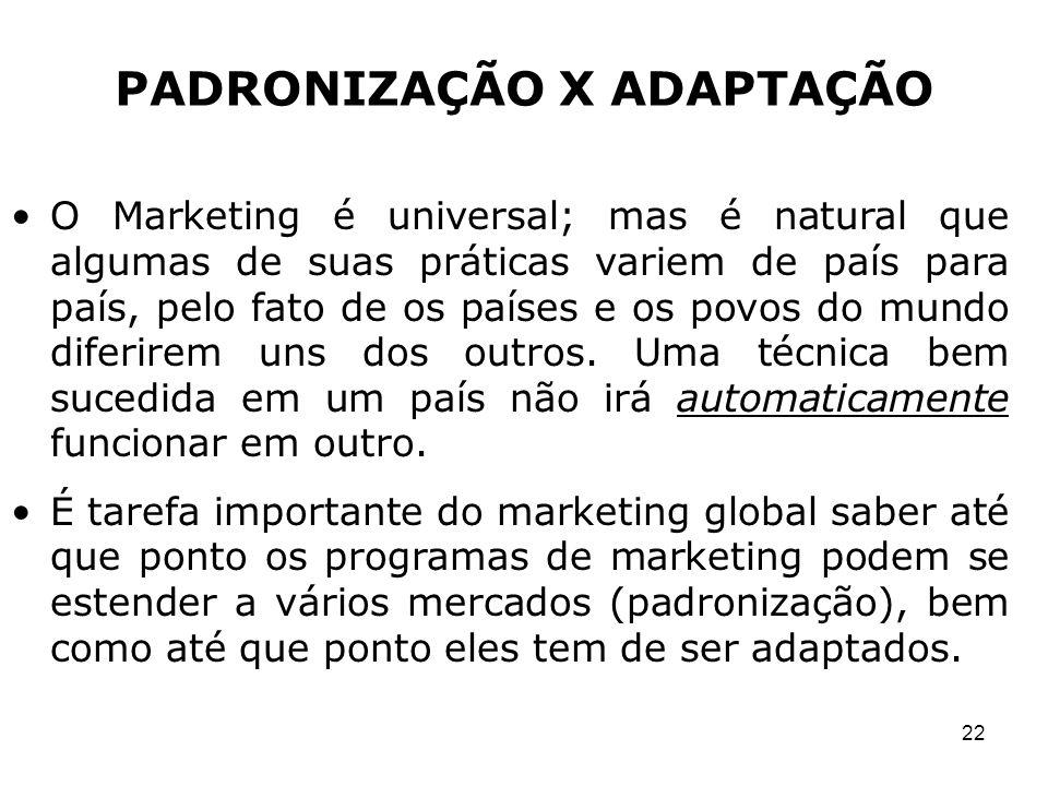 22 O Marketing é universal; mas é natural que algumas de suas práticas variem de país para país, pelo fato de os países e os povos do mundo diferirem