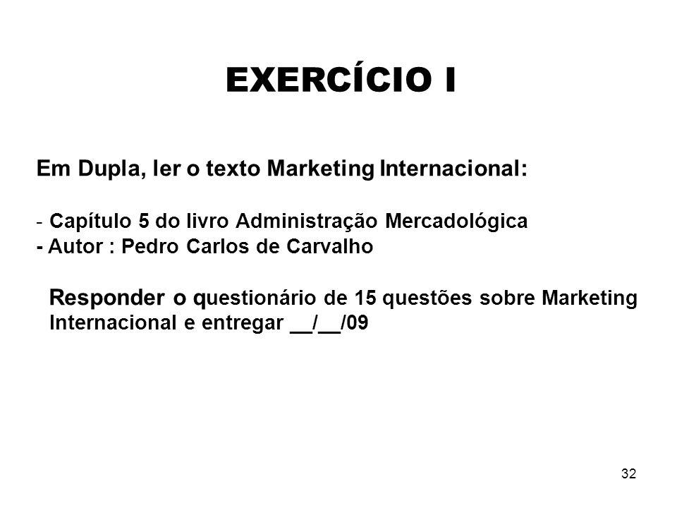 32 Em Dupla, ler o texto Marketing Internacional: -Capítulo 5 do livro Administração Mercadológica - Autor : Pedro Carlos de Carvalho Responder o q ue