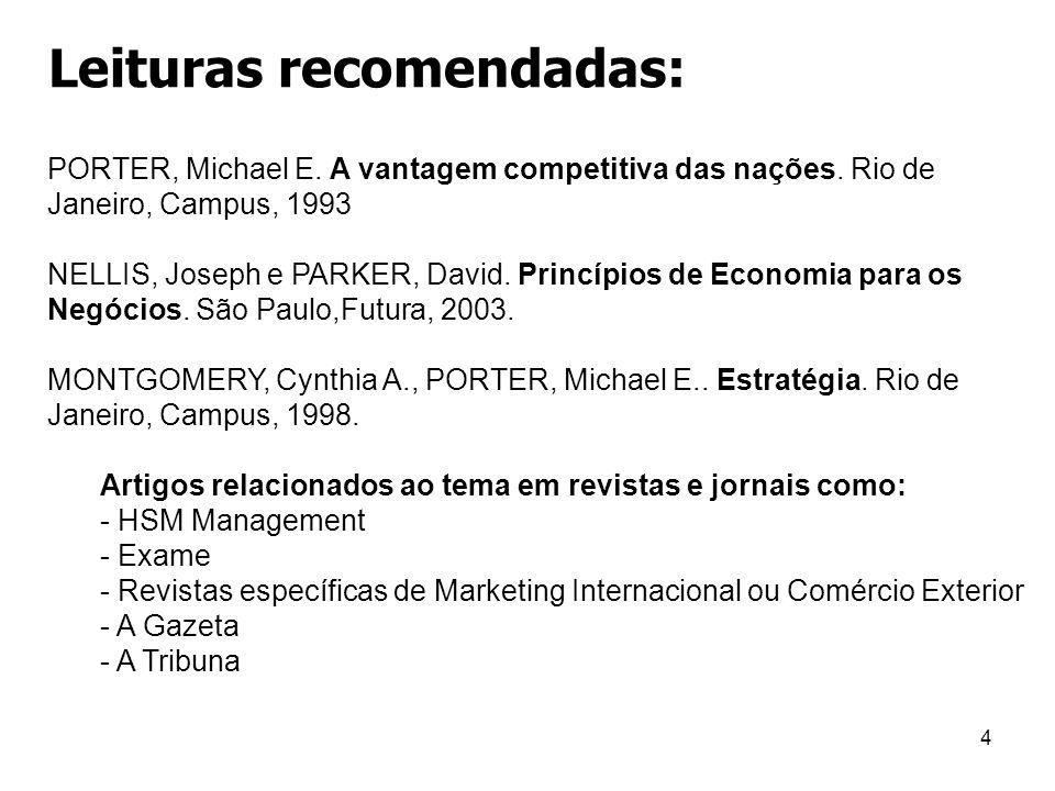 4 Leituras recomendadas: PORTER, Michael E. A vantagem competitiva das nações. Rio de Janeiro, Campus, 1993 NELLIS, Joseph e PARKER, David. Princípios