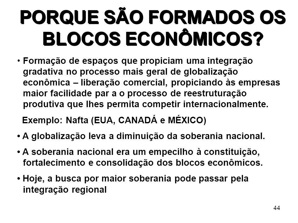 44 PORQUE SÃO FORMADOS OS BLOCOS ECONÔMICOS? Formação de espaços que propiciam uma integração gradativa no processo mais geral de globalização econômi