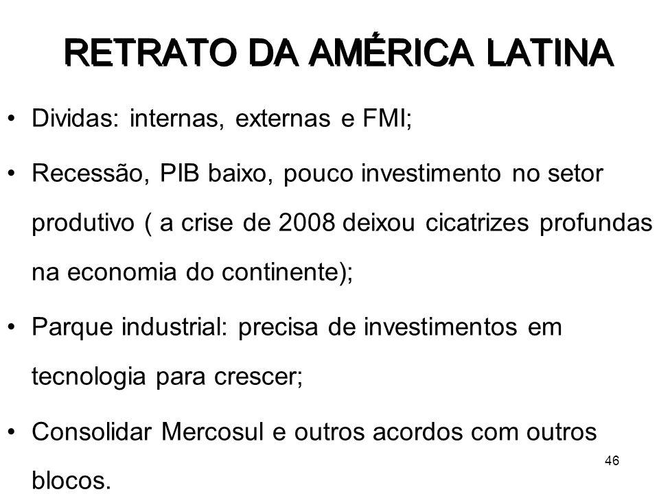 46 Dividas: internas, externas e FMI; Recessão, PIB baixo, pouco investimento no setor produtivo ( a crise de 2008 deixou cicatrizes profundas na econ