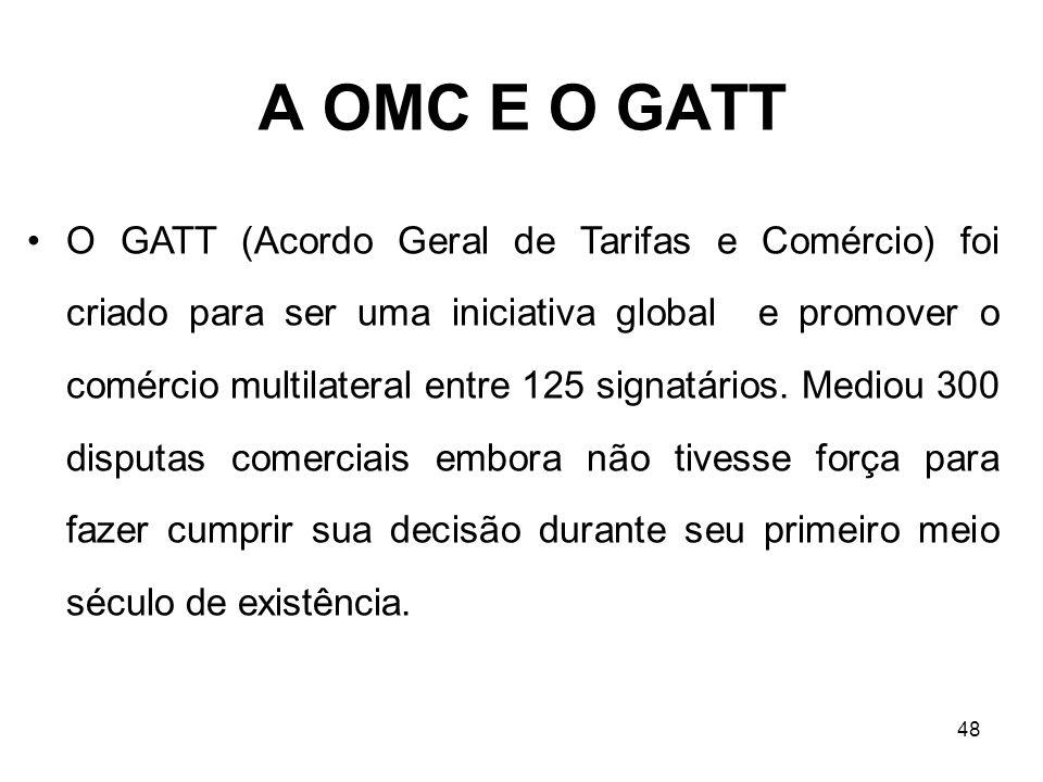 48 A OMC E O GATT O GATT (Acordo Geral de Tarifas e Comércio) foi criado para ser uma iniciativa global e promover o comércio multilateral entre 125 s