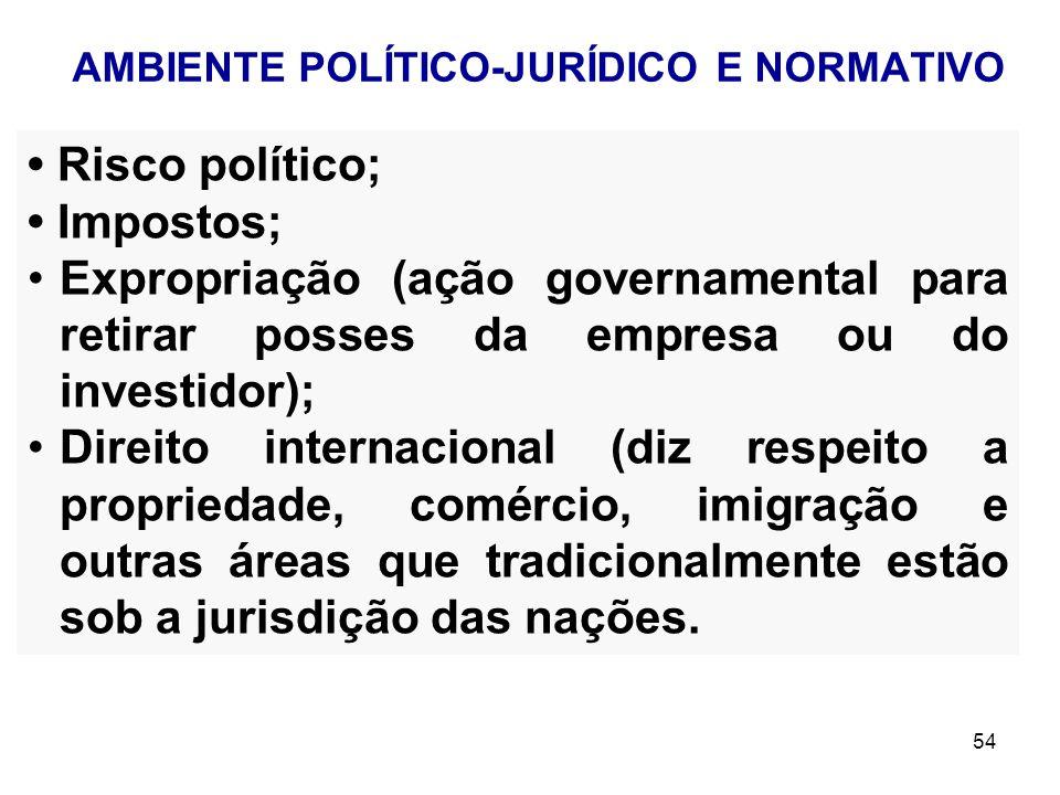 54 Risco político; Impostos; Expropriação (ação governamental para retirar posses da empresa ou do investidor); Direito internacional (diz respeito a