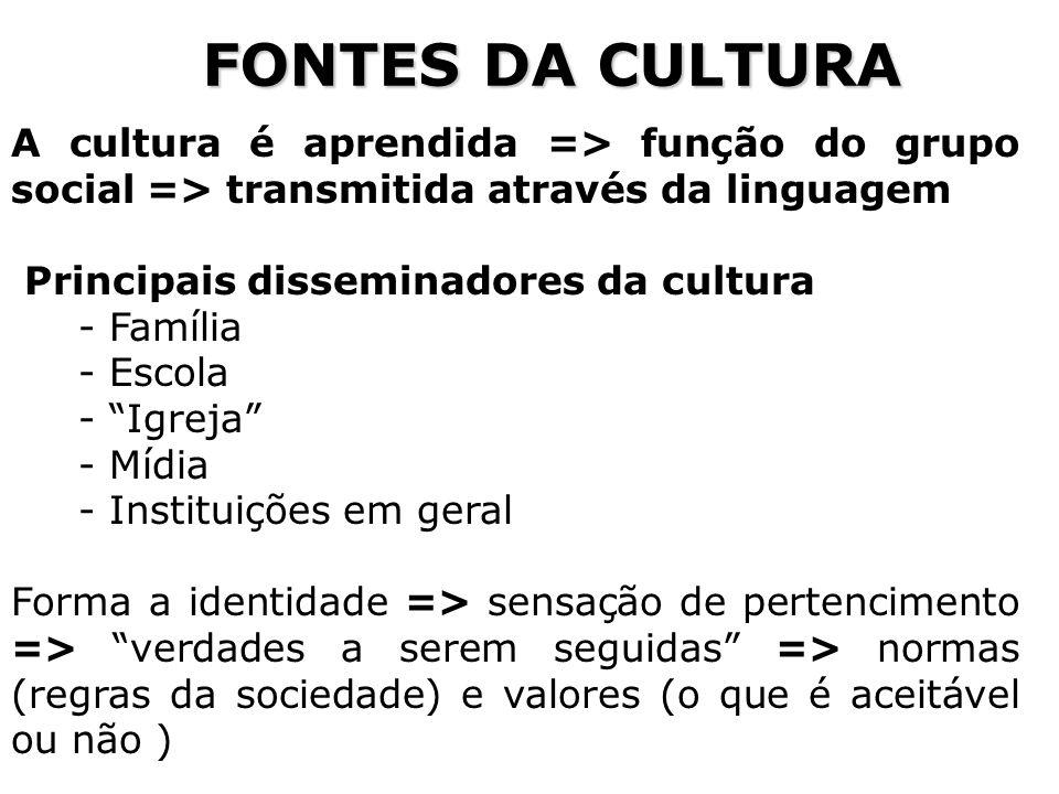 59 FONTES DA CULTURA A cultura é aprendida => função do grupo social => transmitida através da linguagem Principais disseminadores da cultura - Famíli