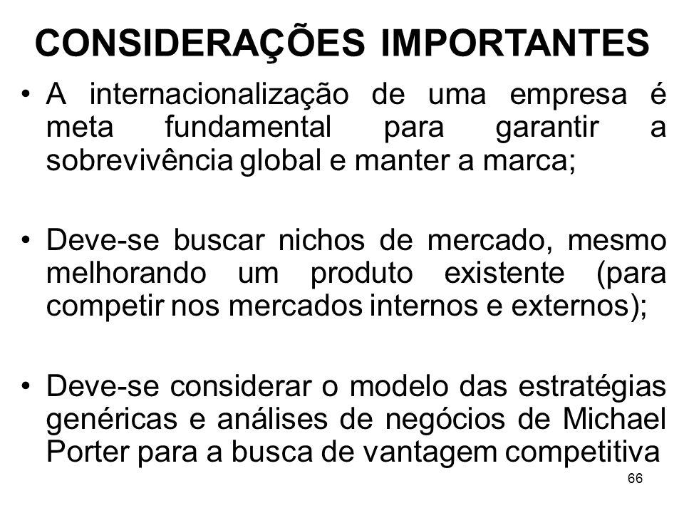 66 A internacionalização de uma empresa é meta fundamental para garantir a sobrevivência global e manter a marca; Deve-se buscar nichos de mercado, me