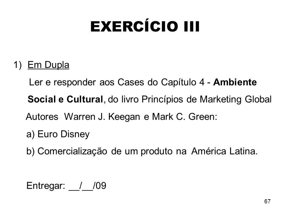 67 1)Em Dupla Ler e responder aos Cases do Capítulo 4 - Ambiente Social e Cultural, do livro Princípios de Marketing Global Autores Warren J. Keegan e