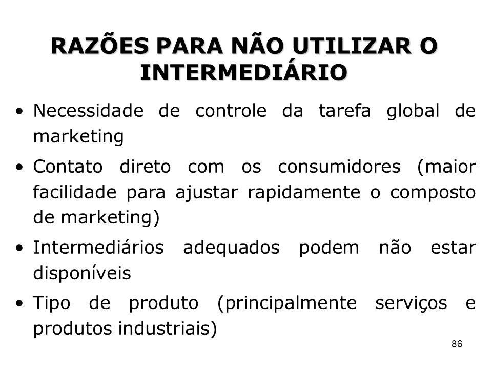 86 Necessidade de controle da tarefa global de marketing Contato direto com os consumidores (maior facilidade para ajustar rapidamente o composto de m