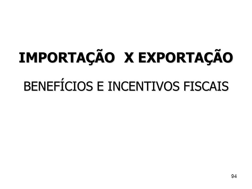 94 IMPORTAÇÃO X EXPORTAÇÃO BENEFÍCIOS E INCENTIVOS FISCAIS
