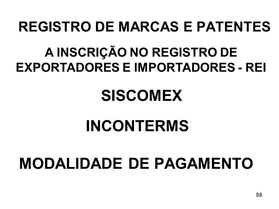 98 REGISTRO DE MARCAS E PATENTES A INSCRIÇÃO NO REGISTRO DE EXPORTADORES E IMPORTADORES - REI SISCOMEX INCONTERMS MODALIDADE DE PAGAMENTO