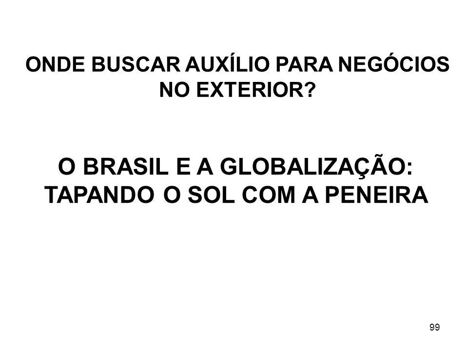 99 ONDE BUSCAR AUXÍLIO PARA NEGÓCIOS NO EXTERIOR? O BRASIL E A GLOBALIZAÇÃO: TAPANDO O SOL COM A PENEIRA