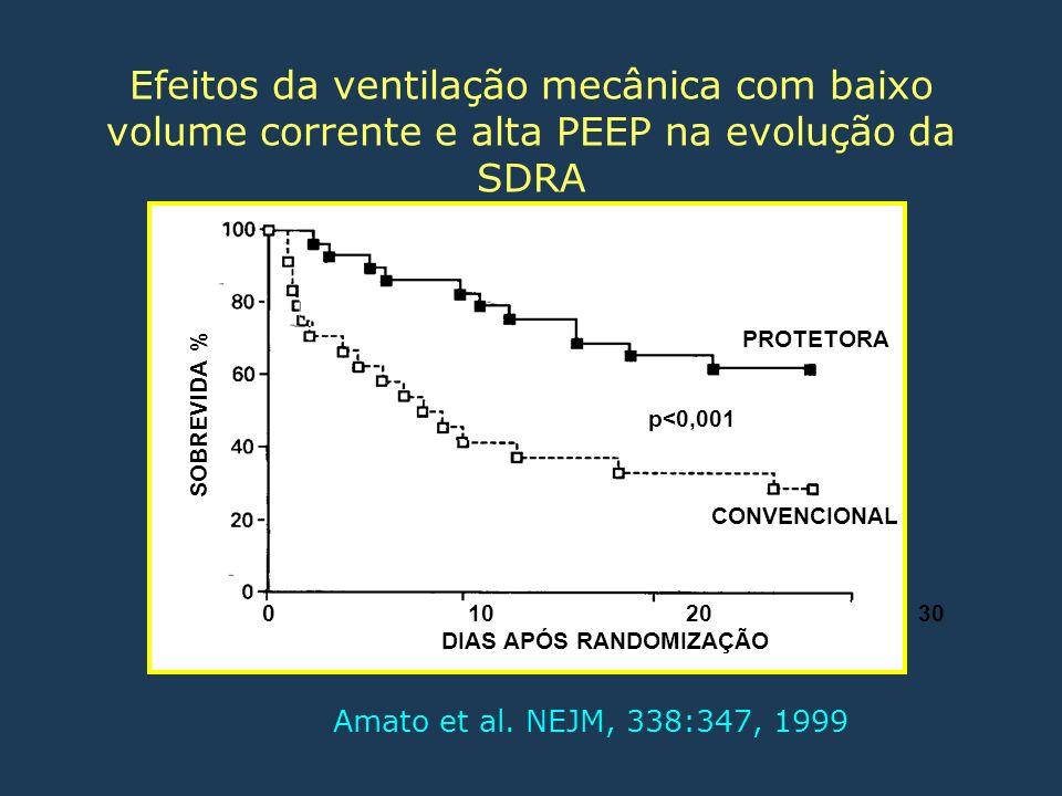 Amato et al. NEJM, 338:347, 1999 0 10 20 30 DIAS APÓS RANDOMIZAÇÃO SOBREVIDA % PROTETORA CONVENCIONAL p<0,001 Efeitos da ventilação mecânica com baixo