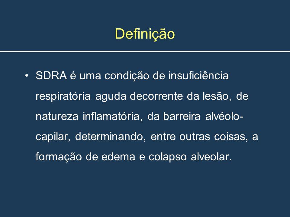 Definição SDRA é uma condição de insuficiência respiratória aguda decorrente da lesão, de natureza inflamatória, da barreira alvéolo- capilar, determi