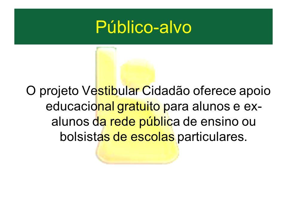 Público-alvo O projeto Vestibular Cidadão oferece apoio educacional gratuito para alunos e ex- alunos da rede pública de ensino ou bolsistas de escola
