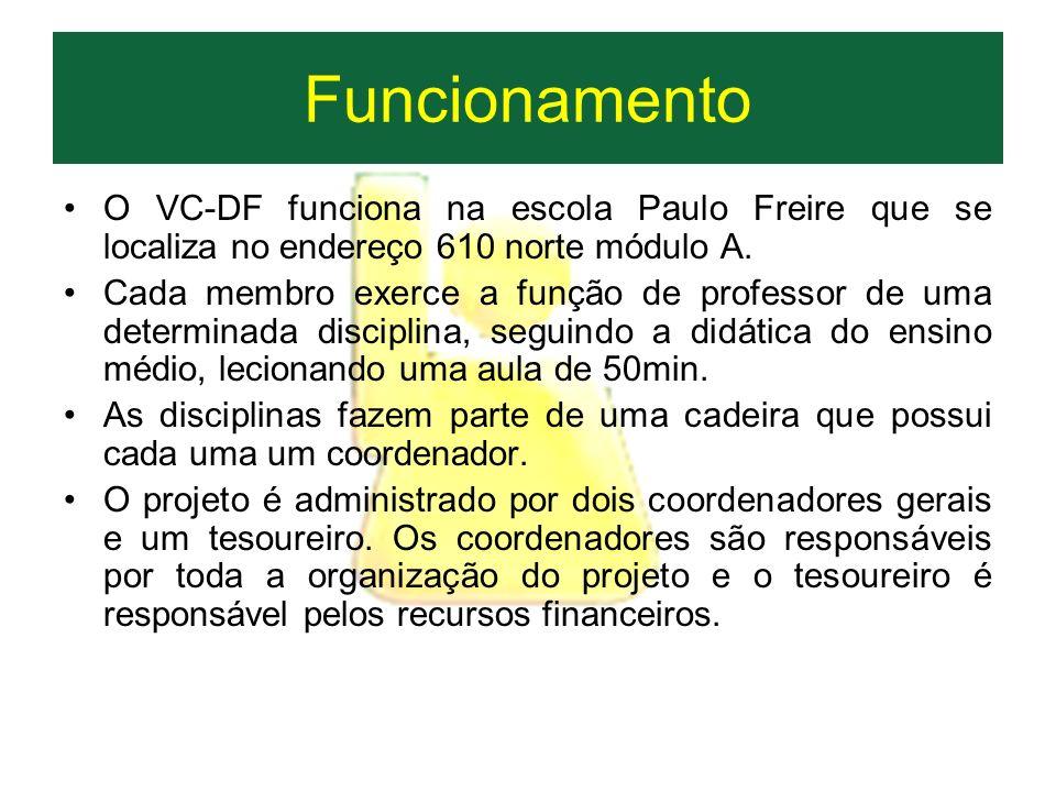 Funcionamento O VC-DF funciona na escola Paulo Freire que se localiza no endereço 610 norte módulo A. Cada membro exerce a função de professor de uma