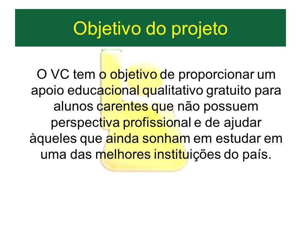 Objetivo do projeto O VC tem o objetivo de proporcionar um apoio educacional qualitativo gratuito para alunos carentes que não possuem perspectiva pro