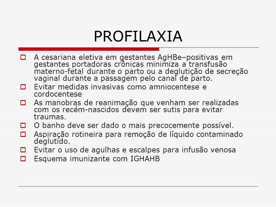 PROFILAXIA A cesariana eletiva em gestantes AgHBe–positivas em gestantes portadoras crônicas minimiza a transfusão materno-fetal durante o parto ou a