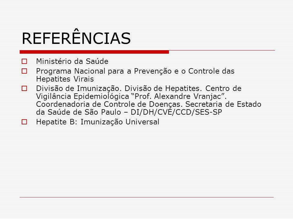 REFERÊNCIAS Ministério da Saúde Programa Nacional para a Prevenção e o Controle das Hepatites Virais Divisão de Imunização. Divisão de Hepatites. Cent