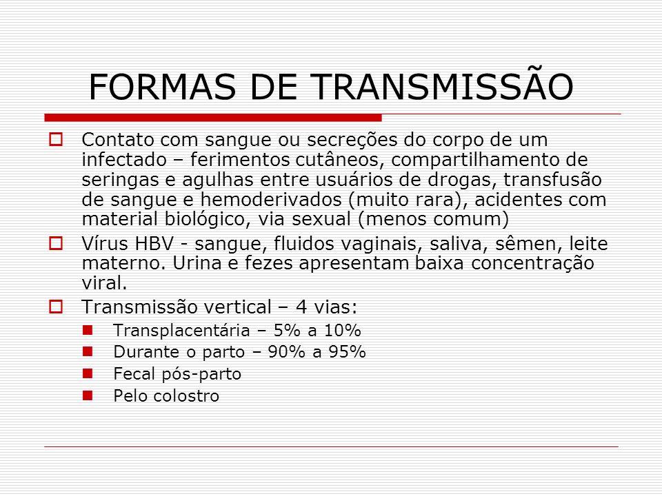 FORMAS DE TRANSMISSÃO Contato com sangue ou secreções do corpo de um infectado – ferimentos cutâneos, compartilhamento de seringas e agulhas entre usu
