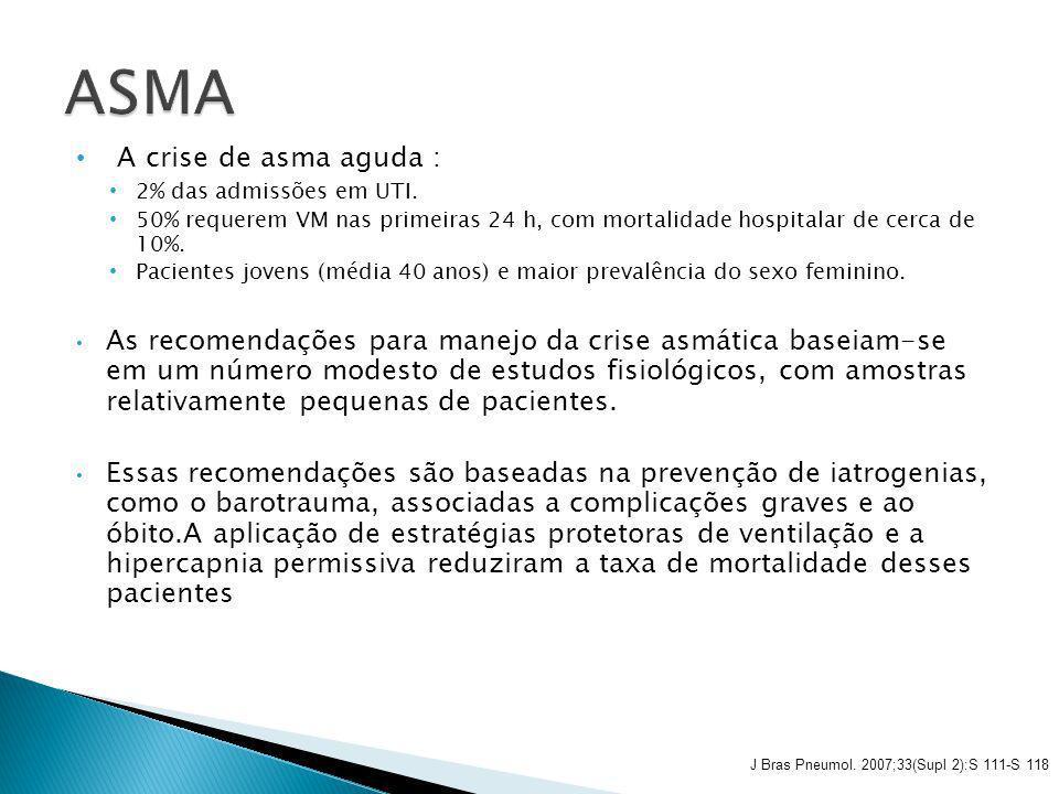 A crise de asma aguda : 2% das admissões em UTI. 50% requerem VM nas primeiras 24 h, com mortalidade hospitalar de cerca de 10%. Pacientes jovens (méd