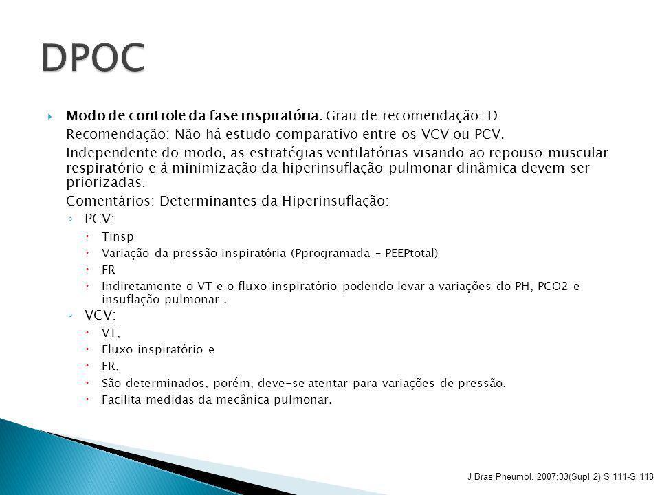 Modo de controle da fase inspiratória. Grau de recomendação: D Recomendação: Não há estudo comparativo entre os VCV ou PCV. Independente do modo, as e