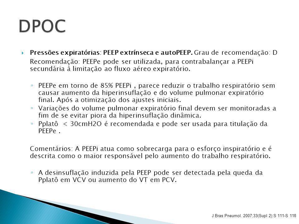 Pressões expiratórias: PEEP extrínseca e autoPEEP. Grau de recomendação: D Recomendação: PEEPe pode ser utilizada, para contrabalançar a PEEPi secundá