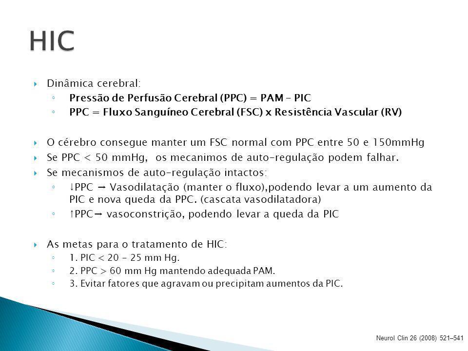 Dinâmica cerebral: Pressão de Perfusão Cerebral (PPC) = PAM – PIC PPC = Fluxo Sanguíneo Cerebral (FSC) x Resistência Vascular (RV) O cérebro consegue
