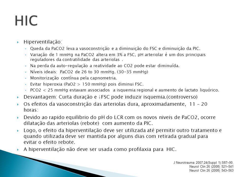 Hiperventilação: Queda da PaCO2 leva a vasoconstrição e a diminuição do FSC e diminuição da PIC. Variação de 1 mmHg na PaCO2 altera em 3% a FSC, pH ar