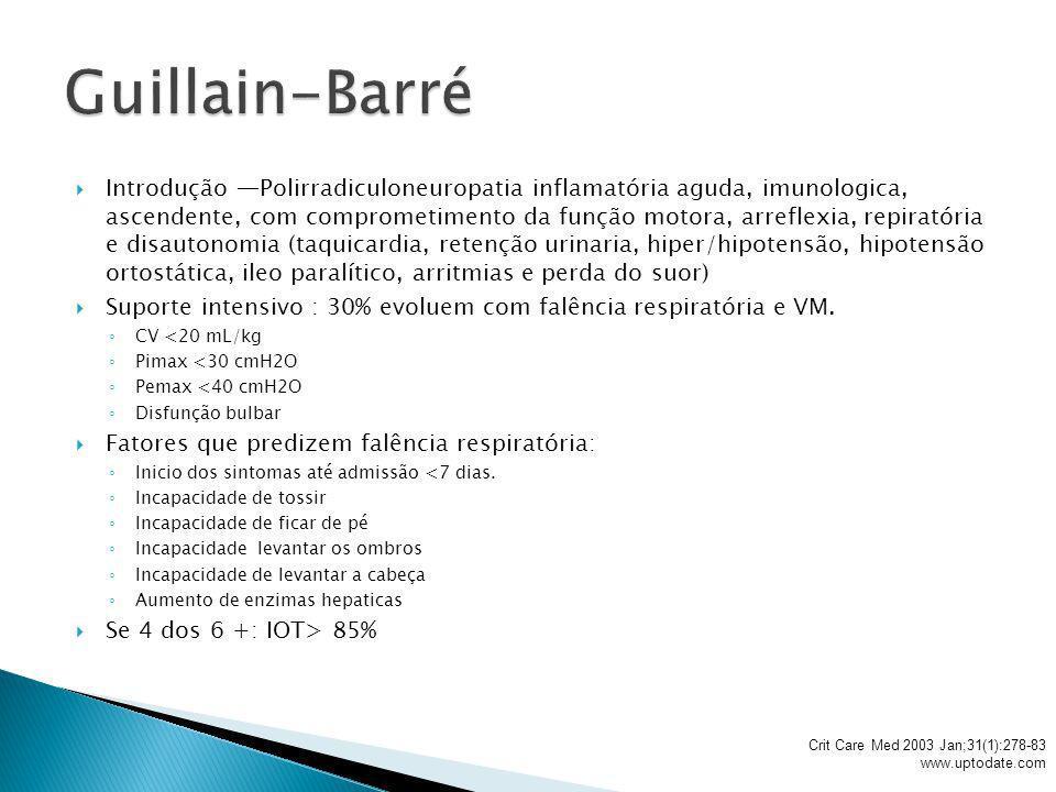 Introdução Polirradiculoneuropatia inflamatória aguda, imunologica, ascendente, com comprometimento da função motora, arreflexia, repiratória e disaut