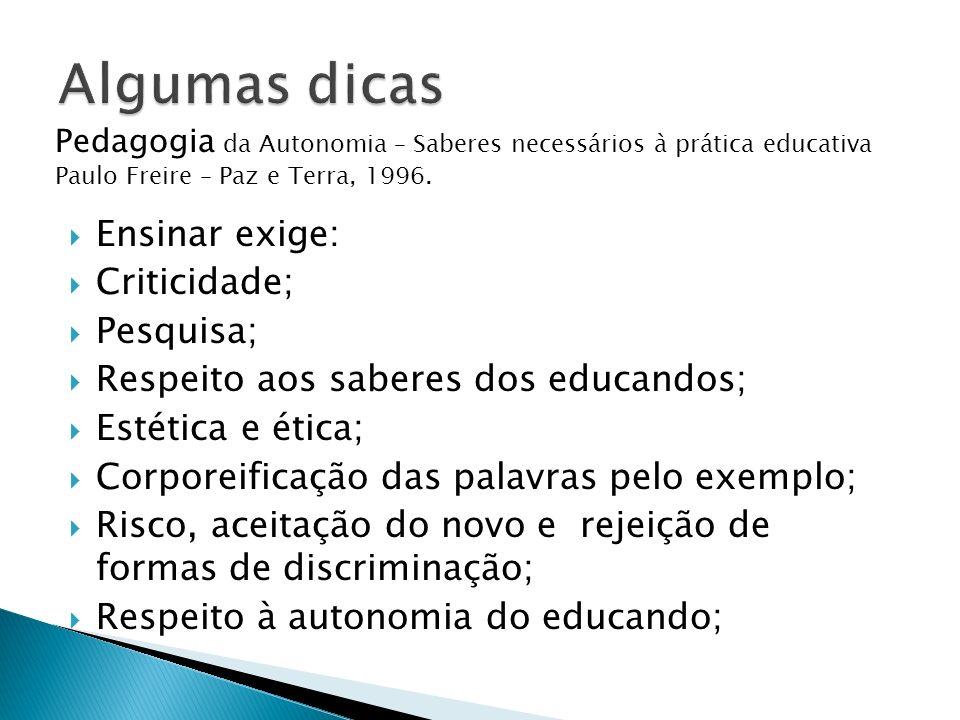 Ensinar exige: Criticidade; Pesquisa; Respeito aos saberes dos educandos; Estética e ética; Corporeificação das palavras pelo exemplo; Risco, aceitaçã