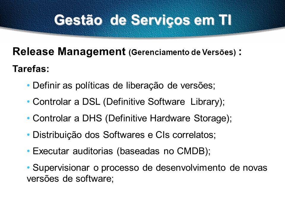 Gestão de Serviços em TI Release Management (Gerenciamento de Versões) : Tarefas: Definir as políticas de liberação de versões; Controlar a DSL (Defin