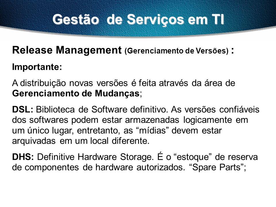 Gestão de Serviços em TI Release Management (Gerenciamento de Versões) : Importante: A distribuição novas versões é feita através da área de Gerenciam