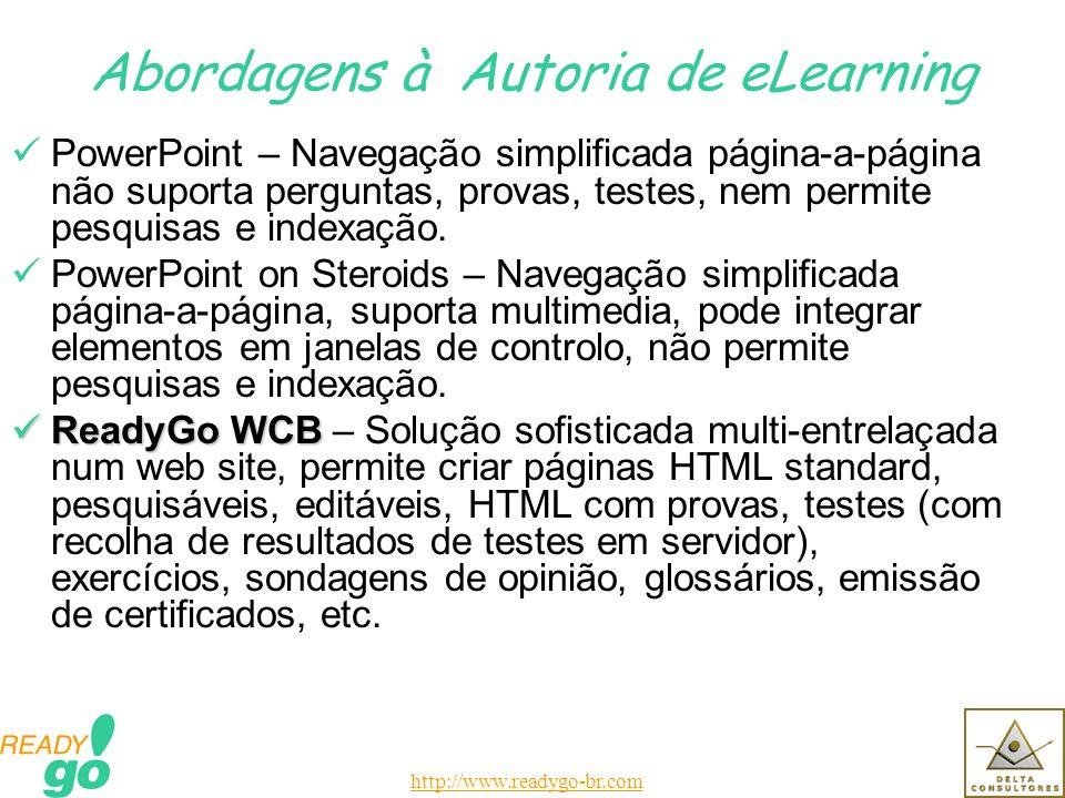 http://www.readygo-br.com Abordagens à Autoria de eLearning PowerPoint – Navegação simplificada página-a-página não suporta perguntas, provas, testes, nem permite pesquisas e indexação.