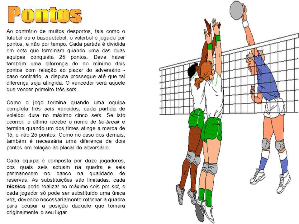 Ao contrário de muitos desportos, tais como o futebol ou o basquetebol, o voleibol é jogado por pontos, e não por tempo. Cada partida é dividida em se