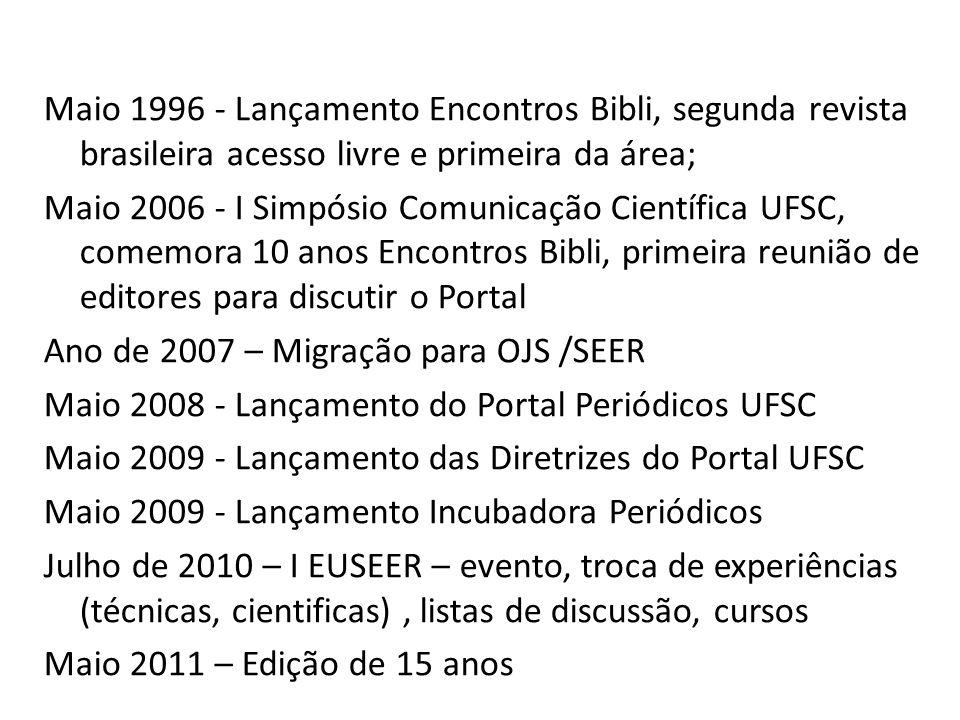 Maio 1996 - Lançamento Encontros Bibli, segunda revista brasileira acesso livre e primeira da área; Maio 2006 - I Simpósio Comunicação Científica UFSC, comemora 10 anos Encontros Bibli, primeira reunião de editores para discutir o Portal Ano de 2007 – Migração para OJS /SEER Maio 2008 - Lançamento do Portal Periódicos UFSC Maio 2009 - Lançamento das Diretrizes do Portal UFSC Maio 2009 - Lançamento Incubadora Periódicos Julho de 2010 – I EUSEER – evento, troca de experiências (técnicas, cientificas), listas de discussão, cursos Maio 2011 – Edição de 15 anos