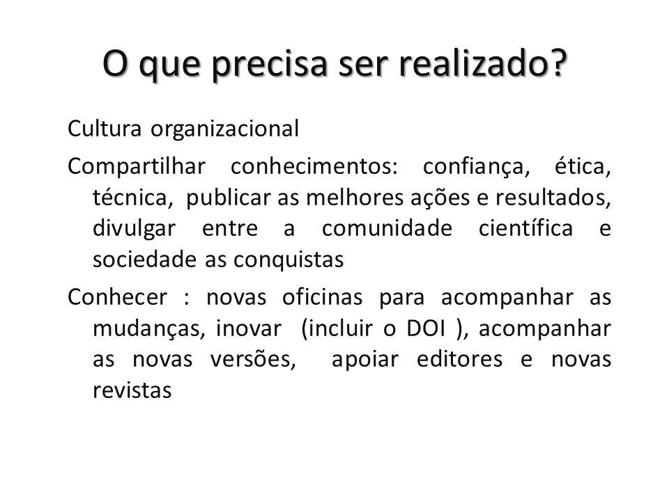 O que precisa ser realizado? Cultura organizacional Compartilhar conhecimentos: confiança, ética, técnica, publicar as melhores ações e resultados, di