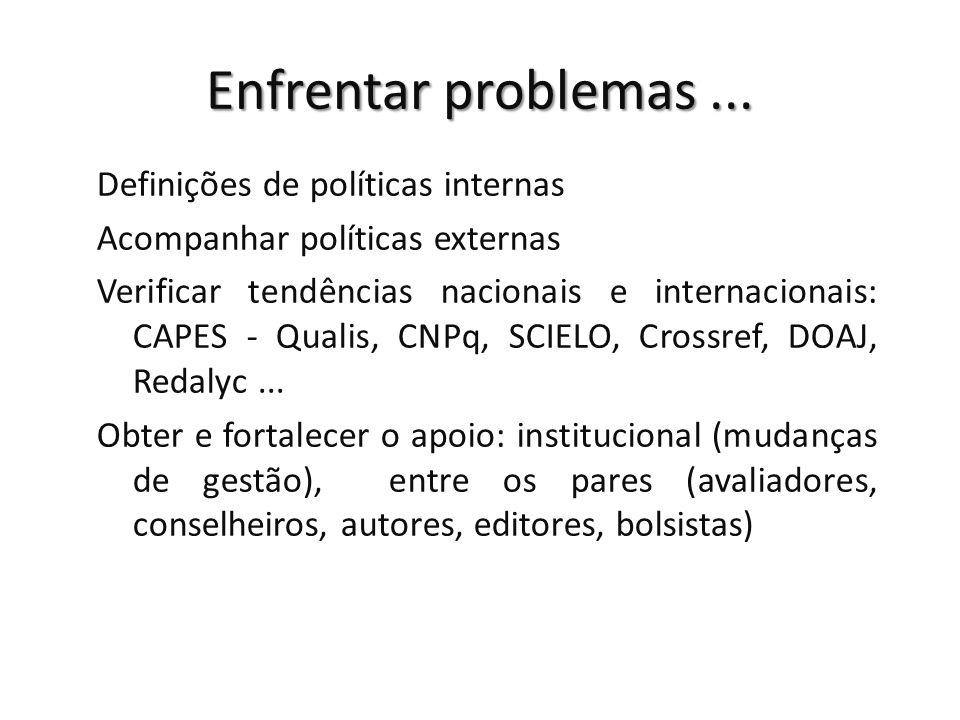 Enfrentar problemas... Definições de políticas internas Acompanhar políticas externas Verificar tendências nacionais e internacionais: CAPES - Qualis,