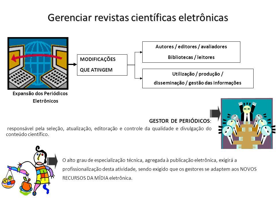 Gerenciar revistas científicas eletrônicas Utilização / produção / disseminação / gestão das informações Expansão dos Periódicos Eletrônicos Autores /