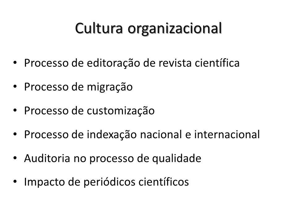 Processo de editoração de revista científica Processo de migração Processo de customização Processo de indexação nacional e internacional Auditoria no processo de qualidade Impacto de periódicos científicos Cultura organizacional